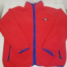 Vintage LL Bean Fleece Jacket Red Purple Large Full Zip 80s 90s Made In USA