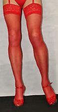 2Pairs Fabulous Bright Red 15Denier Luxury Lace Top Large Satin Sheen Stockings