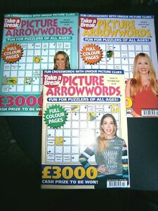 3 Take A Break Picture Arrowwords Puzzle Books . Aug, Sept, Oct 2021 (new)