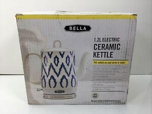 Bella 1.2 Liter Electric Ceramic Tea Kettle, Blue Aztec, Model KE7937-A (Read)