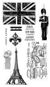 Paris & London Stamps, Eiffel Tower, Union Jack, Postmarks, Guard, Fleur de Lis