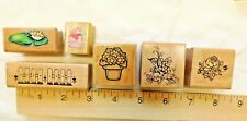 6 Rubber Stamps Wood Mount Flowers Fence Mouse with heart Vintage 80's & 90's