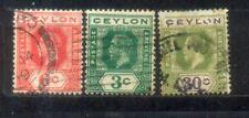 Ceylon  3 Old Stamps Wmk Mult CrownCA