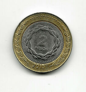 World Coins - Argentina 2 Pesos 2010 Bimetallic Coin KM# 165