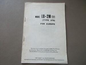 Yamaha LB-2M Manual Lista de Repuestos Libro Catálogo Piezas Parts 1F0-28198-G5