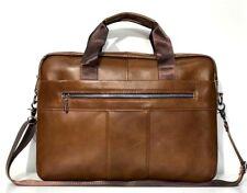 Laptop Bag Real Leather Briefcase Messenger Shoulder Office Brown Womens Mens