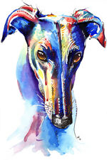 More details for greyhound art print painting poster wall art picture, birthday gift gifts xmas