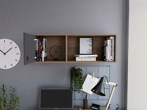Shelf Storage Unit Wall Mounted With 1 Door 1 Shelf Oak Effect and Grey Finish