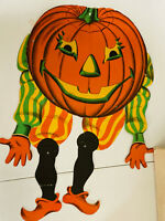LRG Vintage Beistle Halloween Dancing Pumpkin Decoration NICE