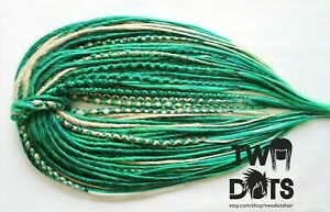 Peacock Green & Blonde Dreads, DE & SE Dreads, 20 Inches Burning Man Teal Mint