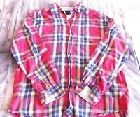 Tommy Hilfiger Plaid Button Up Shirt Mens Size M Long Sleeve Red Blue White