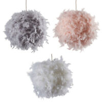 Real Feather Pendant Shades Ceiling Pendant Shade Modern Easy Fit + LED GLS Bulb