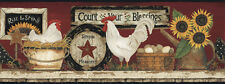 New Primitive Country Farmhouse RISE & SHINE CHICKEN Rooster Wallpaper Border
