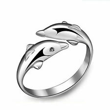 Double Dolphin Ring 925 Sterling Silver Stamped Adjustable Free Shipping AR-5