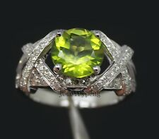 Solid Round Cut 8mm Solid 14Kt White Gold 2.90Ct Natural Diamond Peridot Ring