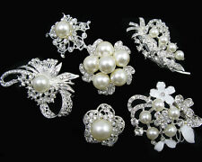 Wholesale 6x Pearl Crystal Rhinestone Brooches Pins Wedding Bridal Bouquet Decor
