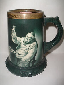 Antique late 19thc Lenox  porcelain mug sterling silver rim Monk tasting wine