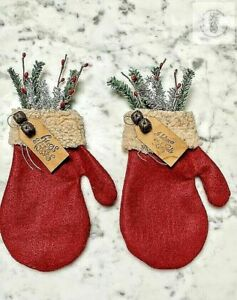 Primitive Handmade Santa Mitten Rusty bell/Greens and Berries