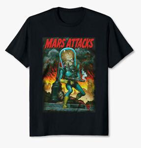 Mars Attacks City Destruction T Shirt Mens Licensed Movie UFO Aliens Tee Black