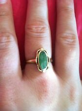 10K Yellow Gold Ring Jadeite colored stone size 8 2.1 grams VERY PRETTY