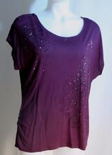 APT. 9 Womens sz XL Knit TOP VGC cotton Purple Peacock sketch Studded Front