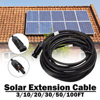 3-100FT Solar Panel Extension Cable  10/12 AWG PV Wire Male Female MC4 Connector