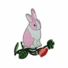 Bunny Rabbit Flower (Iron On) Embroidery Applique Patch Sew Iron Badge