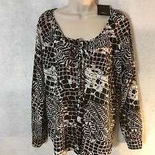 NEW Milano Women's Black Brown Patterned Button Front LS Blouse Top Sz Small