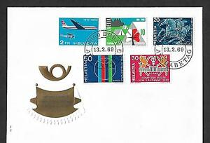 SWITZERLAND 1969 FIRST DAY COVER # 495/99, COMPLETE SET !!