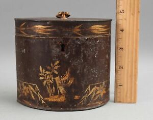 Rare 18thC Antique c1790 Gold Gilt Chinese Chinoiserie Tin Toleware Tea Caddy