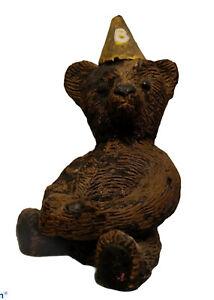 "Wax The Buster Birthday Bear Figurine 7"" Tall Rare, Handmade Vintage"
