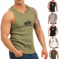 Alpha Industries Herren Tank Top Logo 176545 Achsel Muskel T-Shirt Tee Feinripp