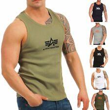0a61ee4ad69988 Alpha Industries Herren Tank Top Logo 176545 Achsel Muskel T-Shirt Tee  Feinripp