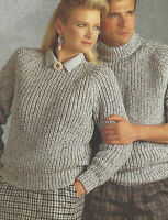 """Ladies Chunky Knitting Patterns Easy Knit Sweaters Crew & Polo Mens 32-46"""" 528"""