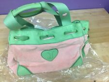 Juicy Couture Daydreamer Handbag Watermelon Green/Pink Velour & Leather VG+