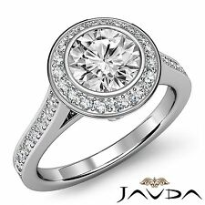 1.97ct Round Genuine Diamond Engagement Halo Pave Ring GIA F SI1 14k White Gold