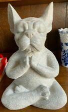 31cm Stone Look Yoga Meditating Frenchie French Bulldog Dog Home Garden Ornament