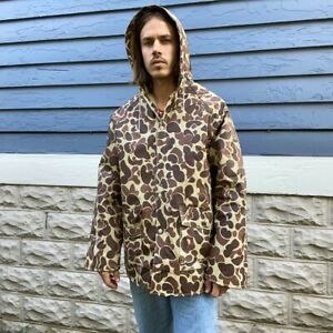 Vintage 90s Ozark Trail Duck Camo Lined Hooded Rain Jacket L