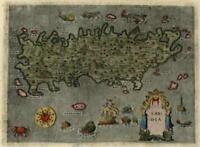 Crete Candia Greece 1620 Porcacchi sea monsters ships decorative miniature map