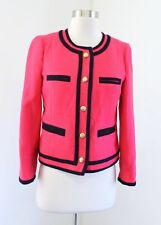 J Crew Lady Jacket in Double Serge Wool Berry Pink Size 2 Navy Trim Collarless