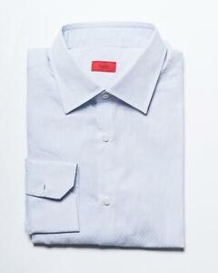 Isaia New Blue White Striped Cotton Slim FIT Sport Shirt 42 eu 16.5 US