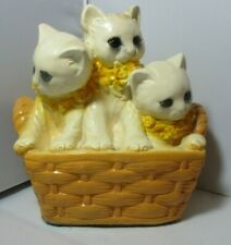 Vintage Three White Kittens Cats in Basket Chalkware Chalk Ware Plasterware