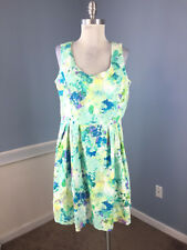 Calvin Klein XL14 Green Purple Floral Dress Fit Flare EUC dress Career Cocktail