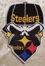"Pittsburgh Steelers BIG 5"" Skull Iron On Embroidered Patch ~FREE Ship"