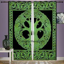 Green Tree Of Life Mandala Cotton Indian Curtains Throw Handmade Door Curtains