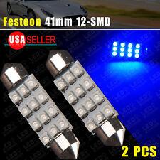 2x 42mm Festoon LED 12SMD Super Blue Courtesy Interior Dome Lamp Light Bulb