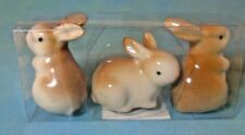"Easter Spring Rabbits Bunnies 2"" Glass Figurines 3 Pack"
