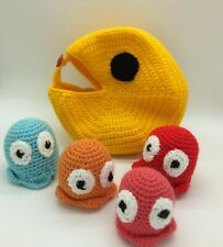 Crocheted PAC-MAN Stuff And Spill Bowl - Handmade - Sensory Toy
