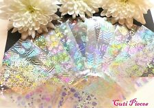 16pcs Nail Art Foil Silver Holographic Lace Star Abstract Sticker Transfer Decal