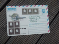 LITHUANIA AIRMAIL  COVER POSTALLY USED COAT OF ARMS STAMPS